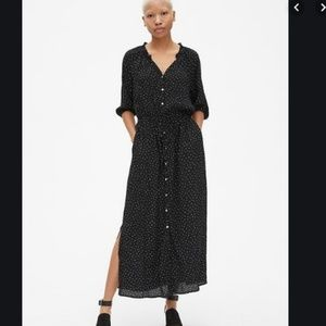 Gap polka dot maxi shirtdress button front dress